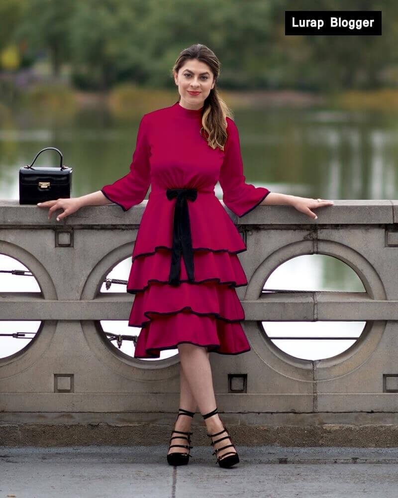 Knitted Ruffled Dress Magenta