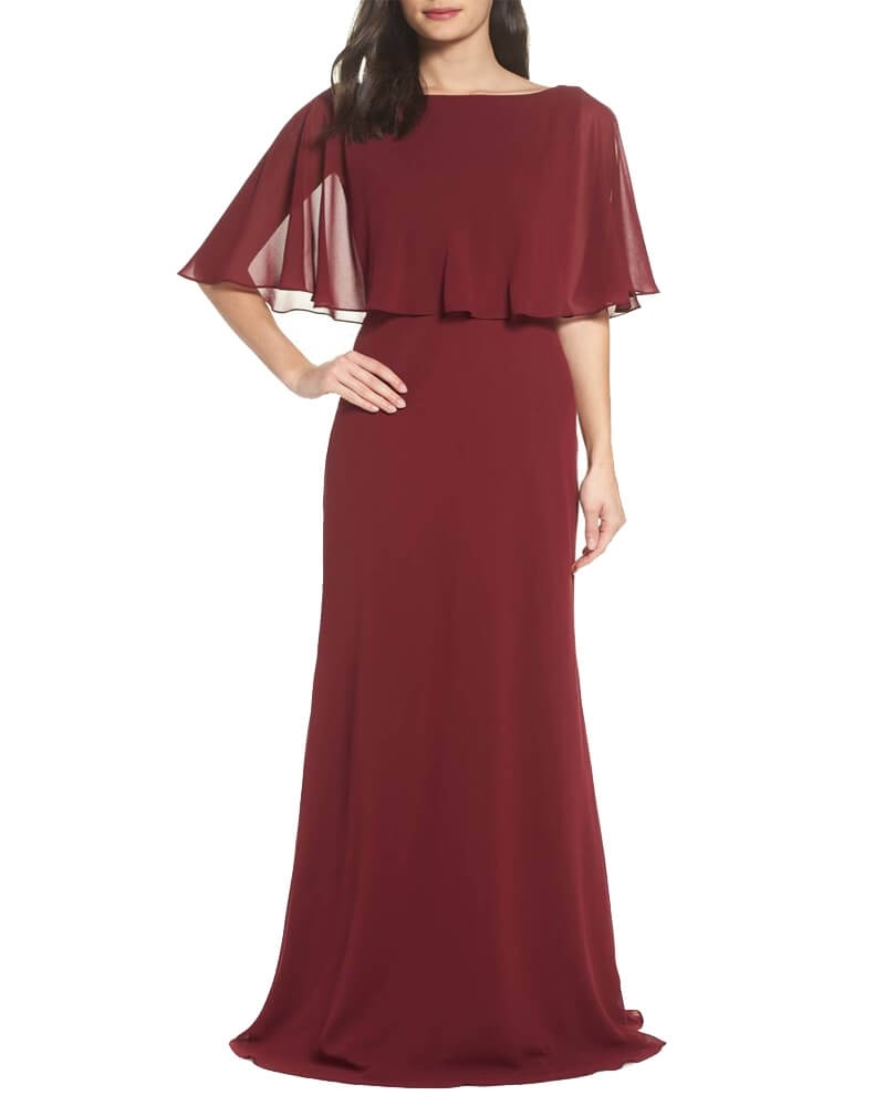 Georgette Wine Party Gown with Cape