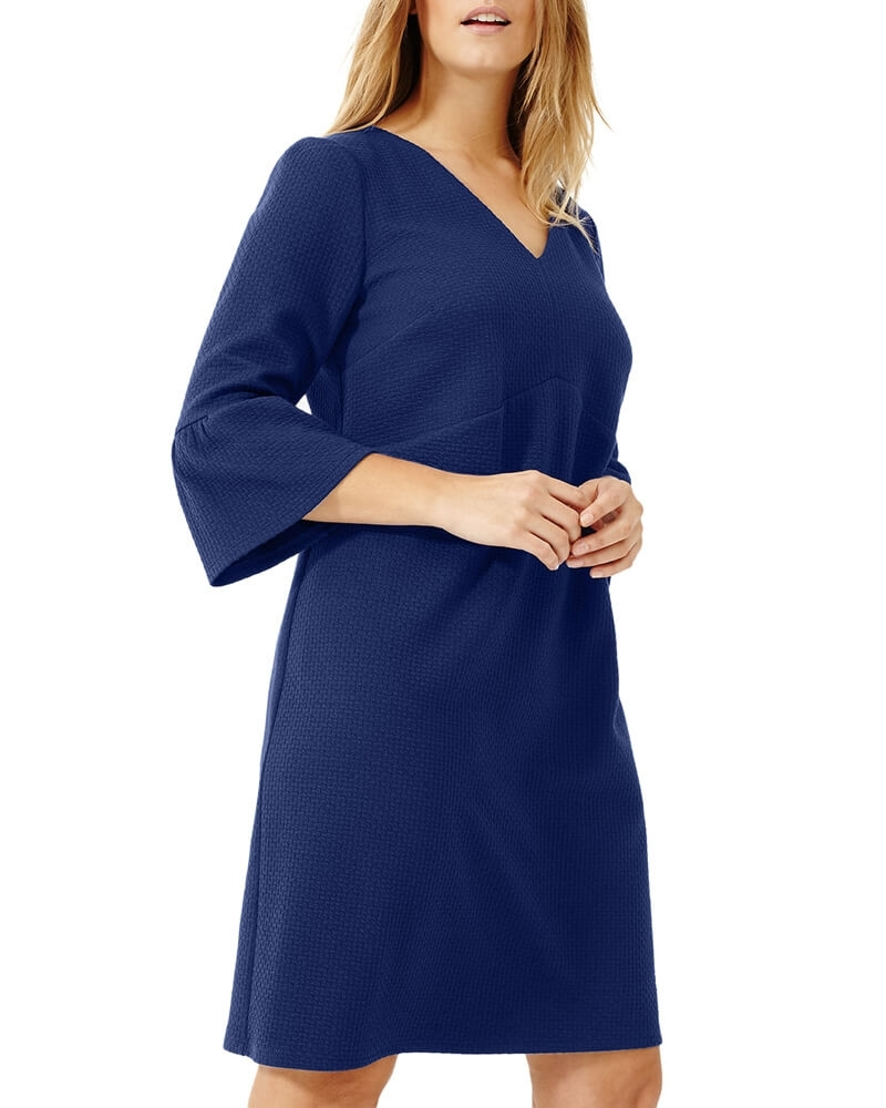 Timeless Flute Sleeved Blue Shift Dress