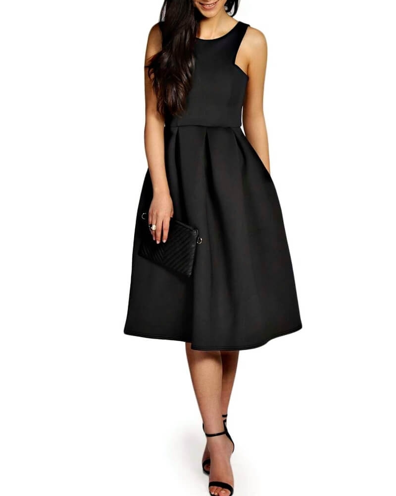 Fit and Flare Little Black Skater Midi Dress