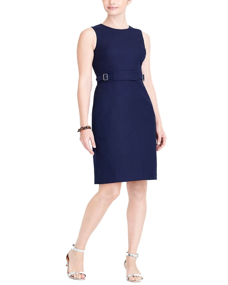 Navy Blue Cotton Belted Slim Fit Dress