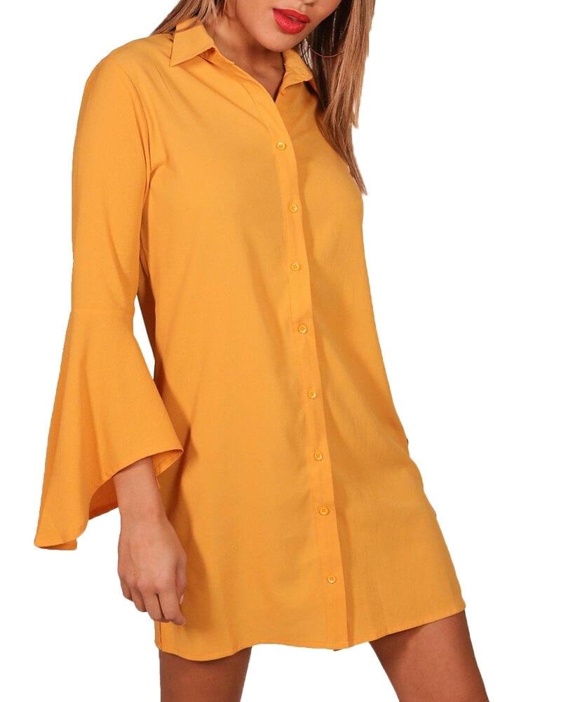 Bell-Sleeved Amber Shirt Dress for Women
