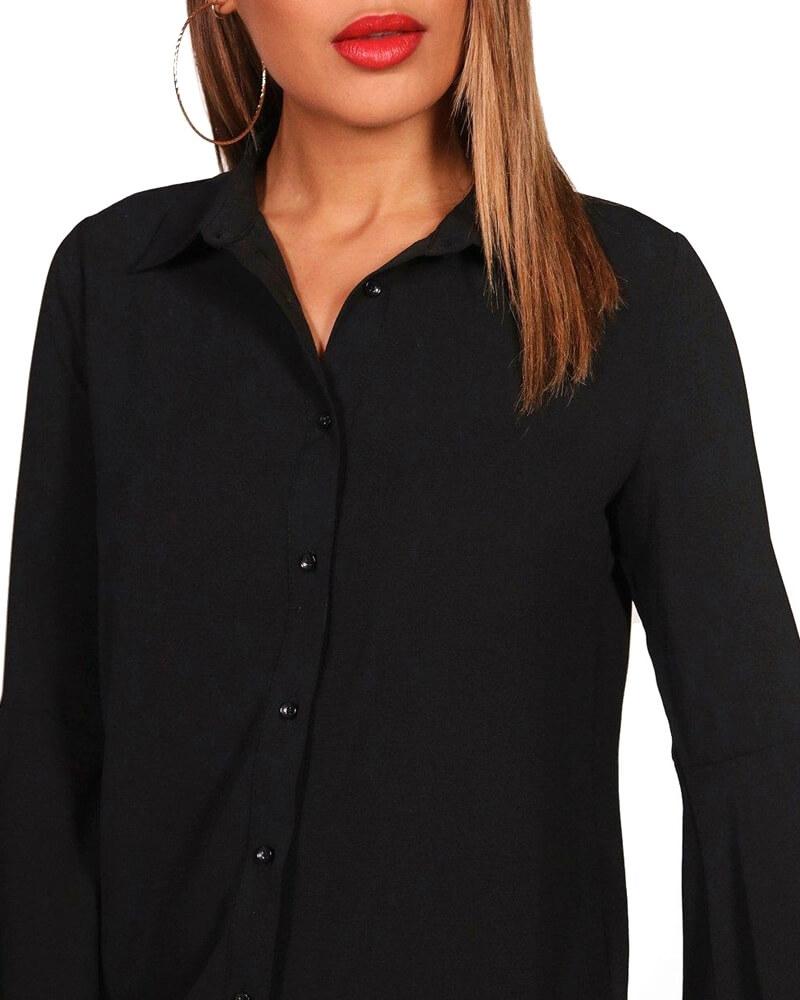 Black Ruffle Sleeved Shirt Dress for Women