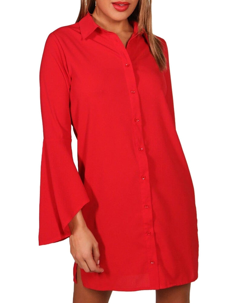 Solid Red Bell Sleeved Shirt Dress for Women