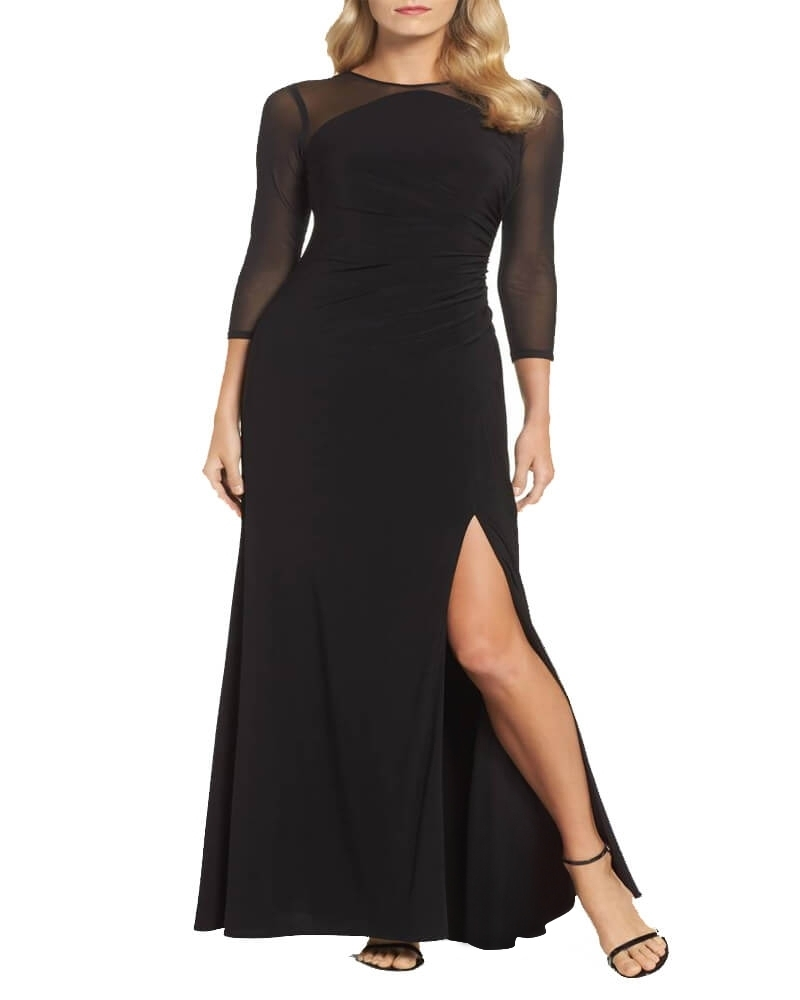 Sober Black Split Sheer Cocktail Gown