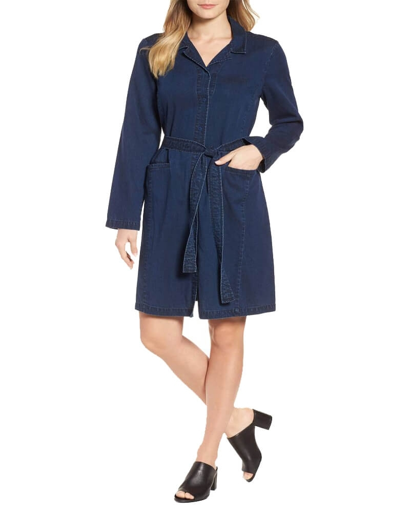 Denim Front Knot Shift Dress
