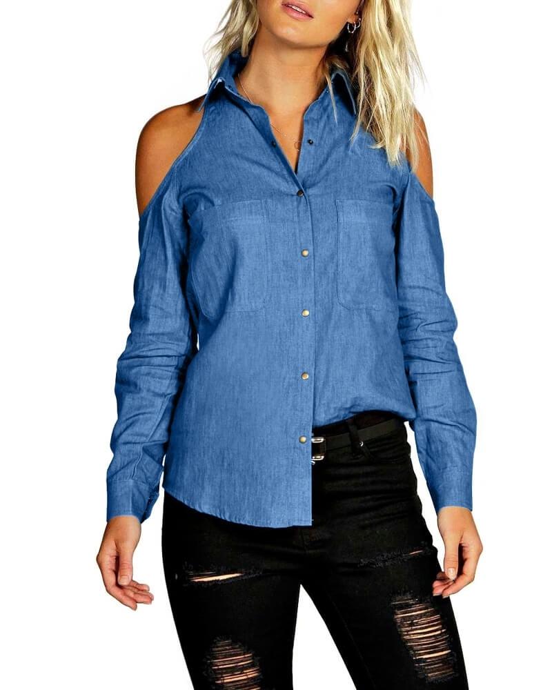 Solid Blue Cold Shoulder Shirt