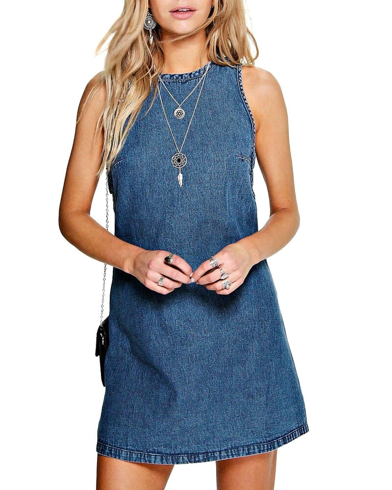 Flap Side Straight Denim Dress