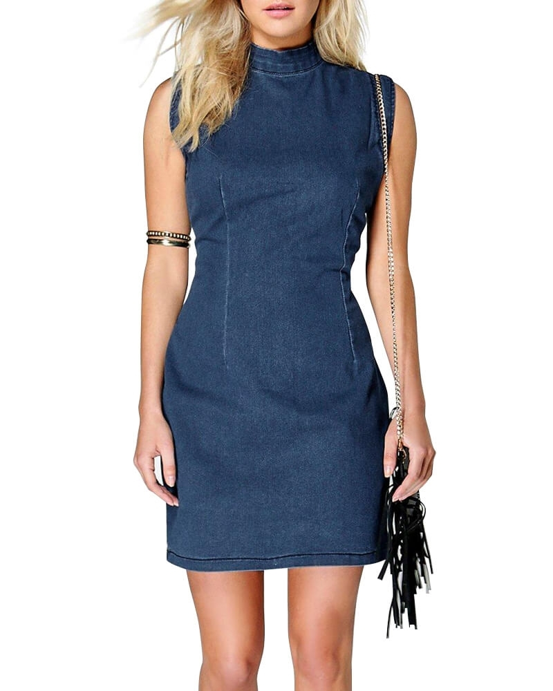 High Neck Cut Selves Denim Dress