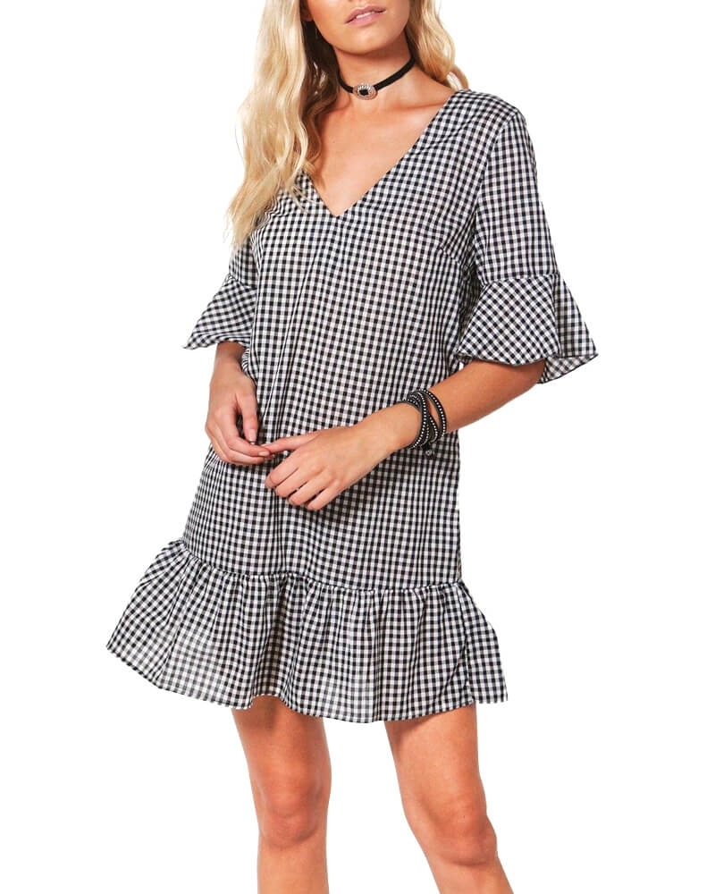 V Neck Ruffle Check Dress