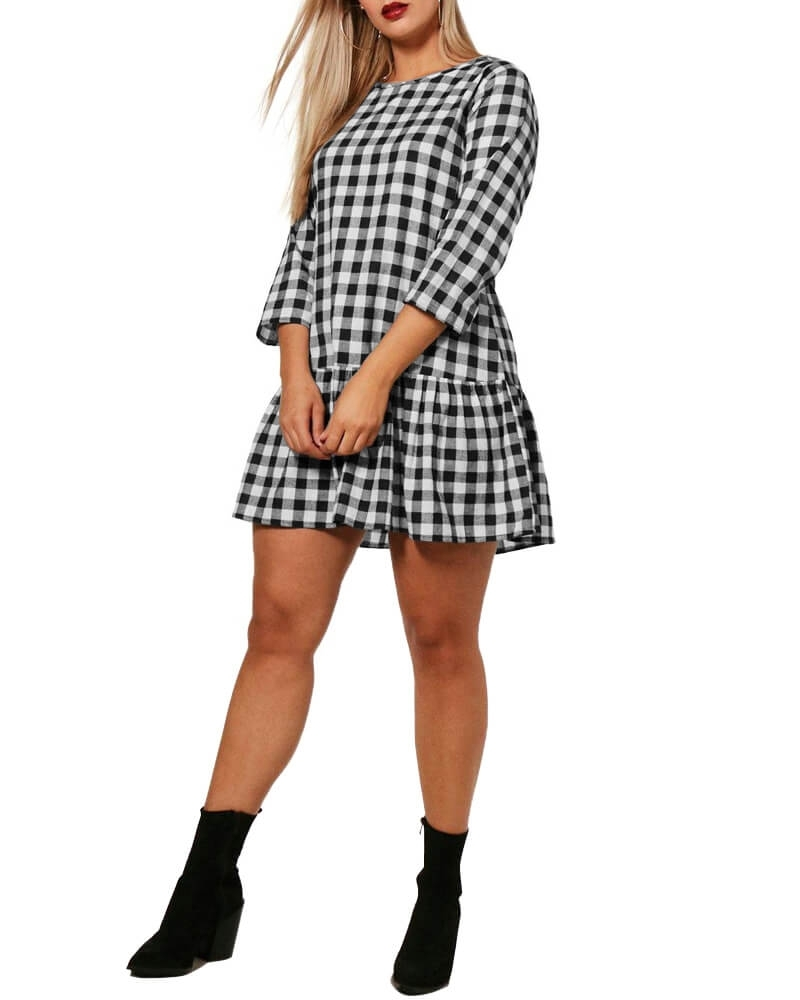 Gingham Check Ruffle Hem Shift Dress