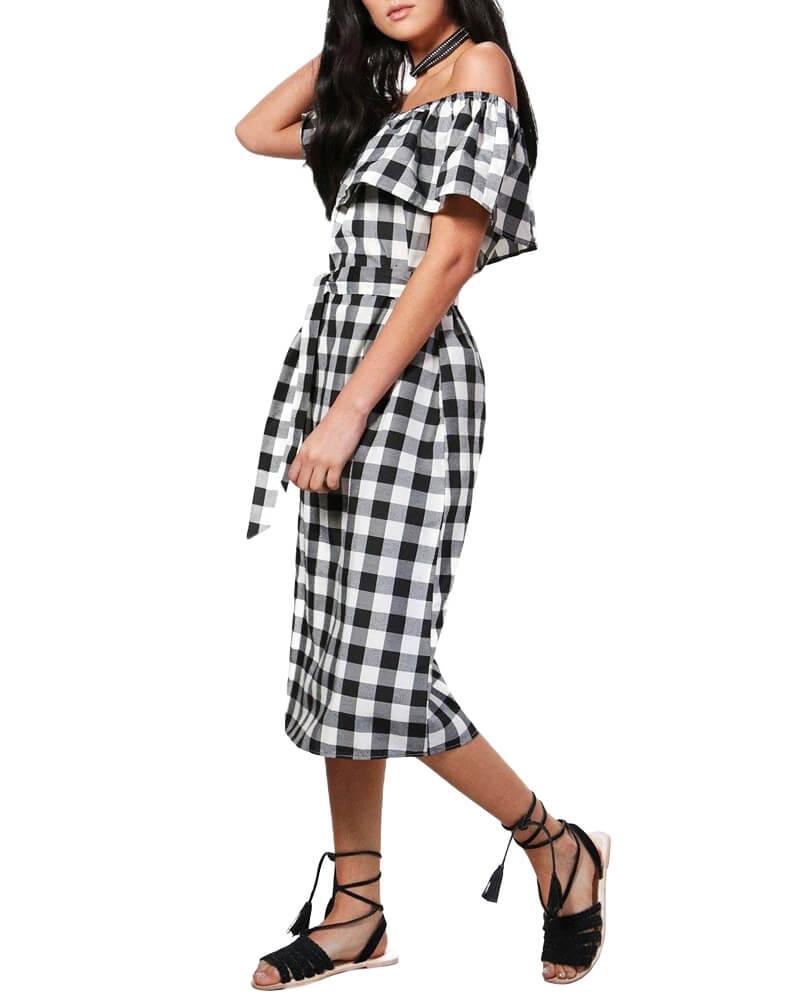 Black Checked Front Bow off Shoulder Dress