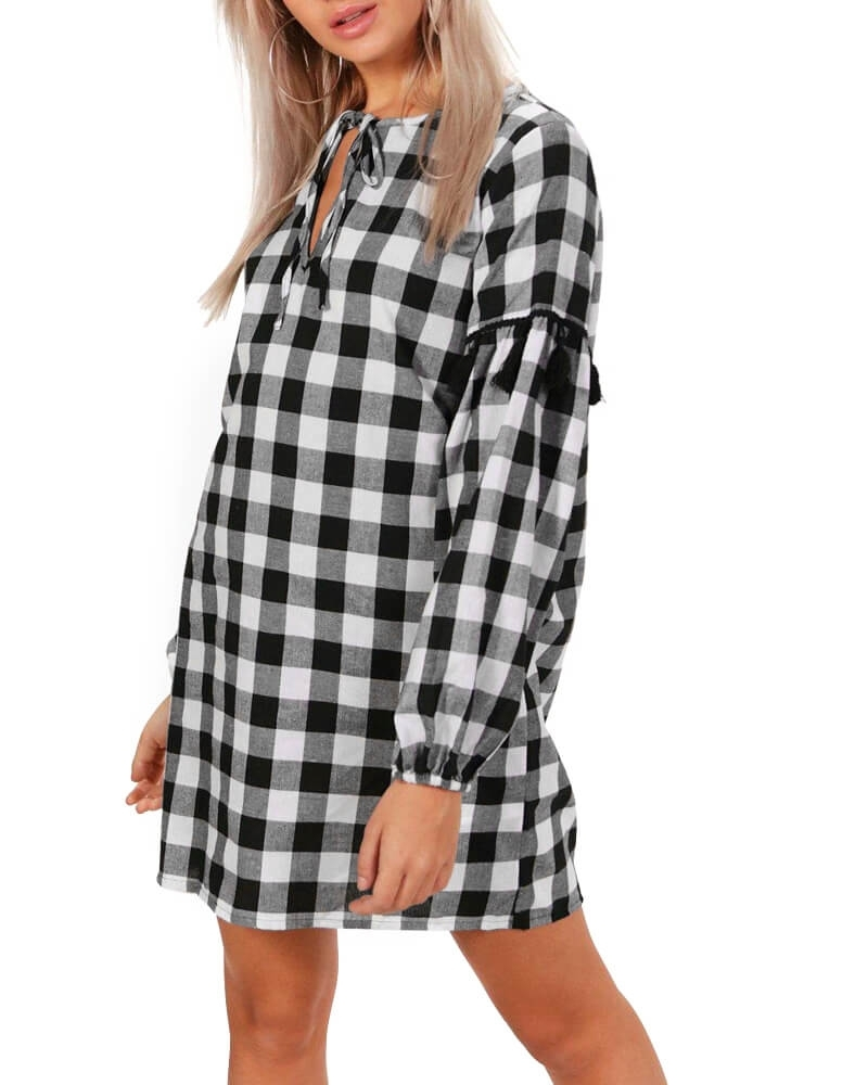 Checked Boxes Shirt Dress