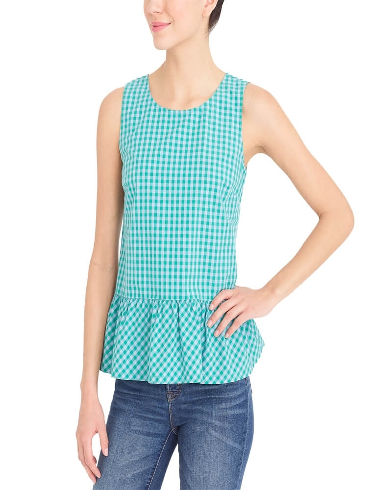 V Back Check Style Gingham Tank Top