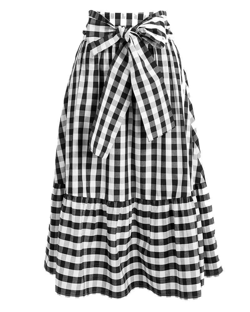 Frill Trim Front Knot Black And White Skirt