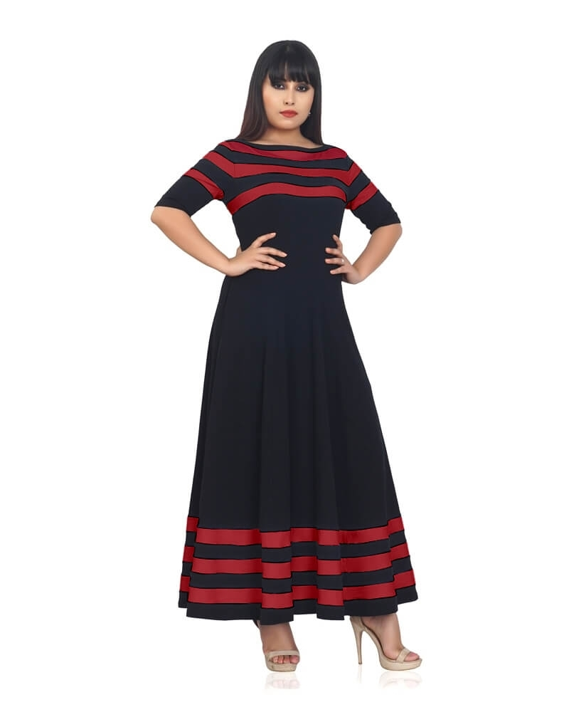 Black And Red Striped Flared Dress