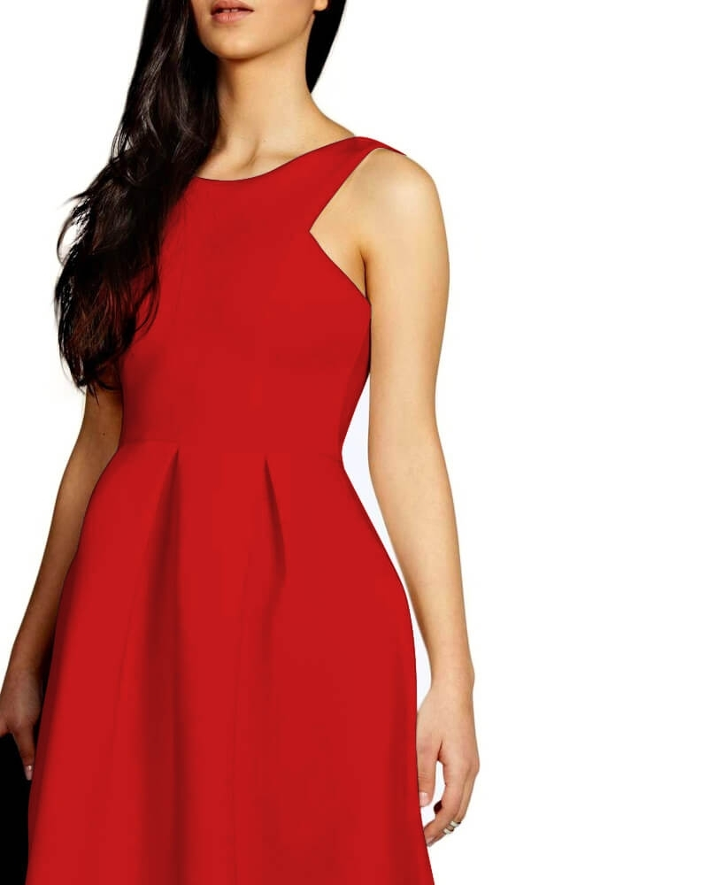 Soothing Red Skater Midi Dress