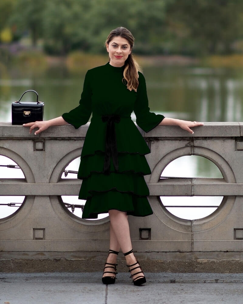 Knitted Ruffled Green Dress