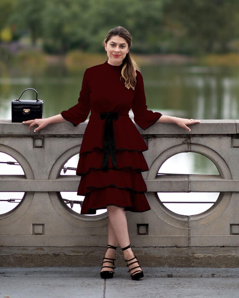 Knitted Ruffled Maroon Dress